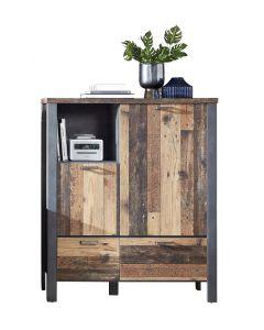 Cabinet din pal, cu 2 sertare si 2 usi Chelsea Natural / Grafit, l109xA40xH129 cm