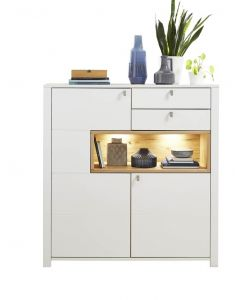 Cabinet din pal si MDF cu 2 sertare si 2 usi, Selina Alb / Natur, l132xA41xH138 cm