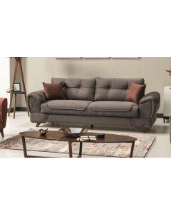 Canapea extensibila cu lada de depozitare, tapitata cu stofa si piele ecologica, 3 locuri Marla Gri K1, l254xA96xH85 cm