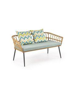 Canapea fixa din ratan sintetic cu picioare metalice, 2 locuri Gardena Natural / Multicolor, l140xA58xH71 cm