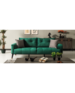 Canapea tapitata cu stofa si piele ecologica, 3 locuri, cu functie sleep pentru 1 persoana Wella Verde K1, l217xA98xH76 cm