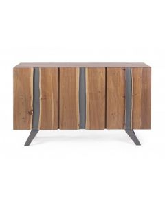 Comoda din lemn de salcam si metal, cu 3 usi Aron Natural, l145xA45xH90 cm
