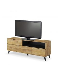 Comoda TV din pal, cu 3 usi Nest RTV-1 Stejar, l160xA40xH55 cm
