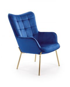 Fotoliu fix tapitat cu stofa, cu picioare metalice Castel 2 Albastru inchis / Auriu, l71xA79xH97 cm