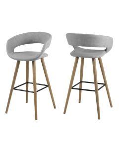 Set 2 scaune de bar tapitate Grace Light Grey