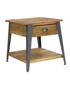 Noptiera din lemn si metal, cu 1 sertar Boston Natural / Negru, l50xA50xH50 cm