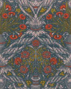 Set 3 role Tapet Imprimat Digital Floral Ornament Scarlet