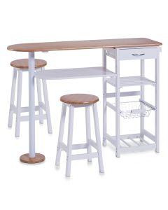 Set masa + 2 scaune de bar din MDF, pentru bucatarie, Bari Alb, l118xA38xH89 cm