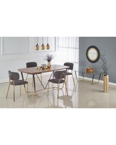 Set masa din MDF, furnir si metal Manchester Nuc / Negru / Auriu + 4 scaune tapitate cu stofa K362 Gri / Auriu, L180xl90xH76 cm