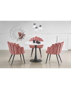 Set masa din sticla si metal Ambrosio Alb / Negru + 3 scaune tapitate cu stofa K410 Roz / Negru, Ø90xH72 cm