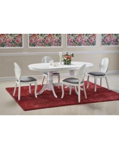 Set masa extensibila din lemn si MDF Joseph Alb + 4 scaune din lemn de fag tapitate cu stofa Verdi Alb / Gri, L150-190xl90xH77 cm