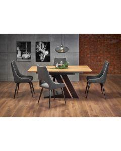 Set masa extensibila din MDF si metal Ferguson Stejar / Negru + 4 scaune tapitate cu stofa K369 Gri inchis / Negru, L160-220xl90xH75 cm