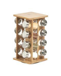Set recipiente pentru depozitare condimente, cu suport din bambus, Bamboo Natural, 17 piese