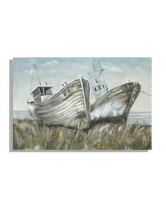 Tablou pictat manual Two Boats, 80 x 120 cm